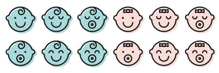 Set baby face simple icons. Varied expressions symbols