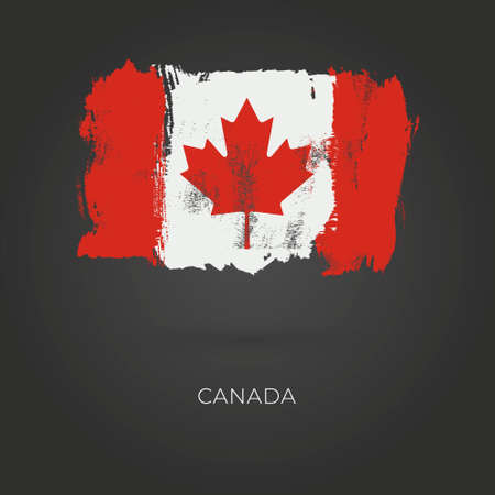 Canadian grunge vector flag isolated on dark background Ilustração
