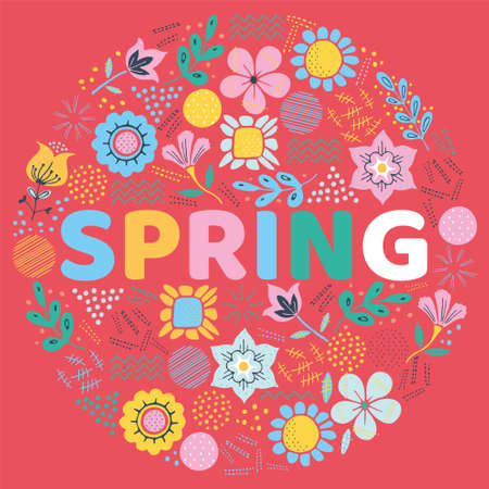The word SPRING surrounded by leaf and flowers. Vector colorful background illustration.