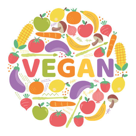The word VEGAN surrounded by fruits and vegetables. Vector colorful background illustration. Vectores