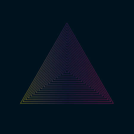 Concentric contour triangles colorful on black background. Vector illustration. Stock Illustratie