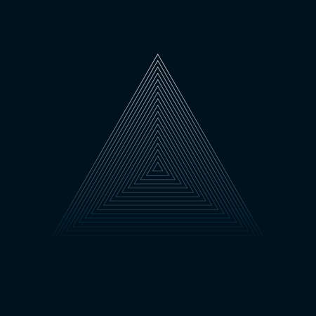 Concentric contour triangles on black background. Vector illustration.