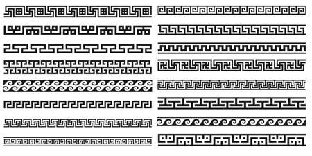 Decorative seamless borders vintage design elements set. Old greek style