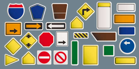 Vector illustration of road warning sign. Art design realistic blank traffic regulatory template. Abstract concept graphic empty banners mockup element