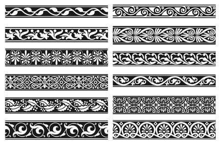Set of decorative floral seamless ornamental border - Modular Vector