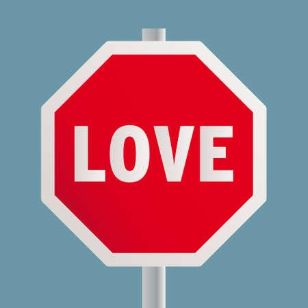 STOP LOVE road sign. Vector illustration.