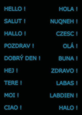 ciao: Hello in many languages, neon in blue color
