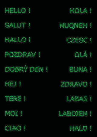 salut: Hello in many languages, neon in green color