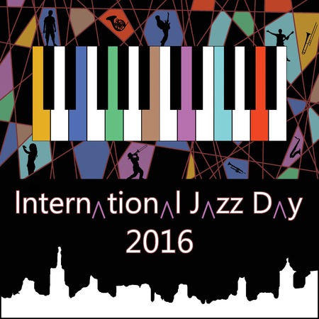funk: international jazz day 2016 poster with silhouettes of musicians and instruments