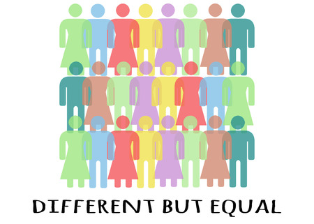 attribution: unequality made by human silhouettes with differents colors