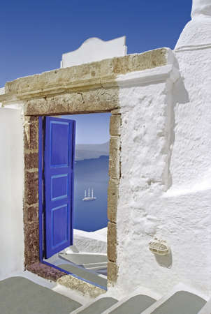 Open door to the Mediterranean sea in Greece.