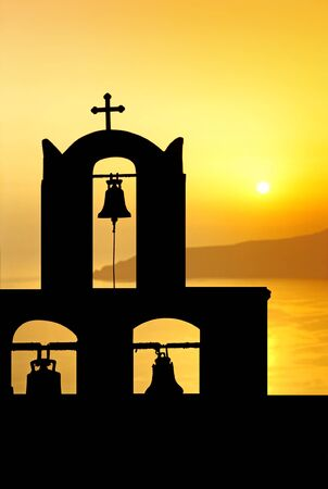 Sunset on the sea in the greek islands. Stock Photo