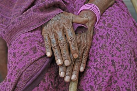 przodek: Old woman in the south of India.