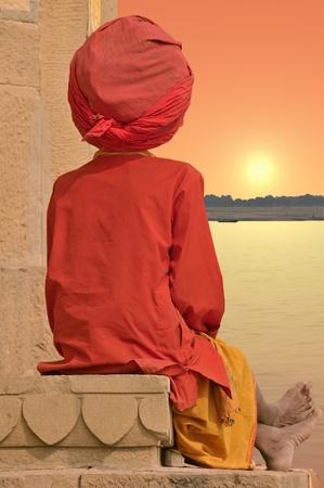 Holy man near Ganges in Varanasi, India. Stock Photo - 9284448