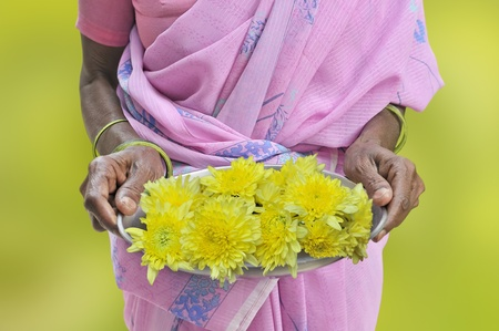 Welcome with flowers in the south of India.