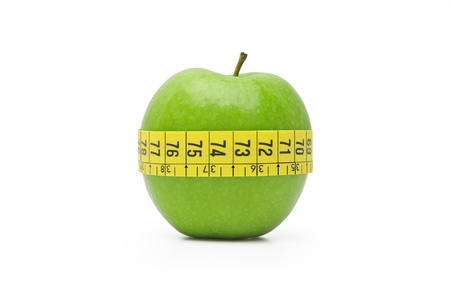 A green apple is the symbol of a good diet. Stock Photo