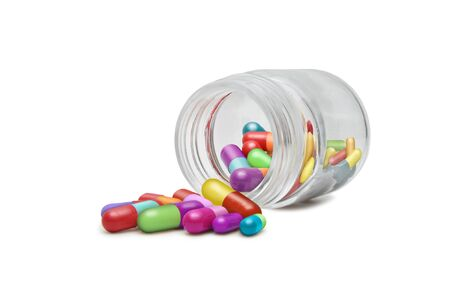 Capsules in a small recipient of glass.