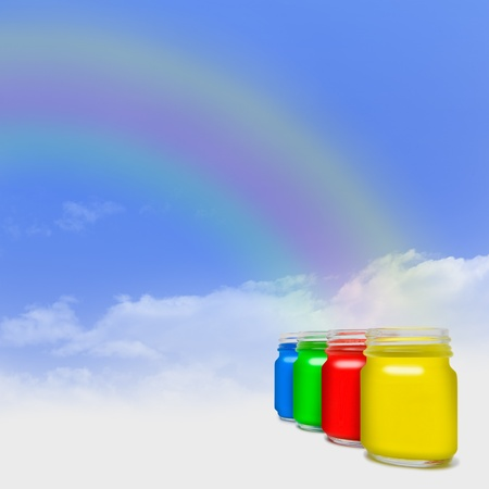 Painting the sky with a coloured rainbow. Stock Photo