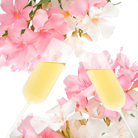 Champagne and flowers in a romantic wedding.  Stock Photo