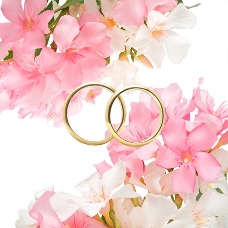 Rings and flowers in a romantic wedding.
