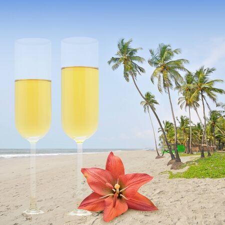 Honey moon with champagne in the paradise. photo