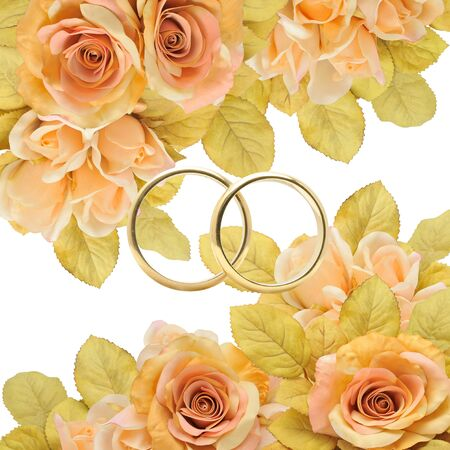 Golden rings between flowers, elegance and glamour.