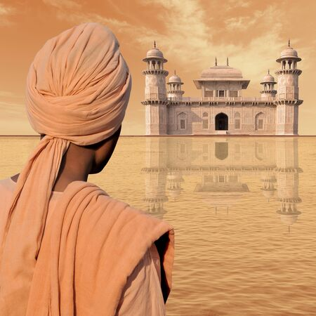 exotism: Man with turban near a palace in India. Stock Photo