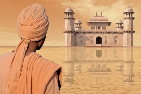 Indian palace and elegant man with turban. Stock Photo
