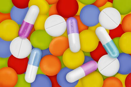 sanitarium: Pills and medicaments are important to be healthy.