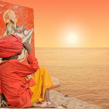 ghat: Old man near Ganges in Varanasi, India.