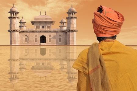 solemnity: Povero uomo vicino a un palazzo di lusso in India. Archivio Fotografico