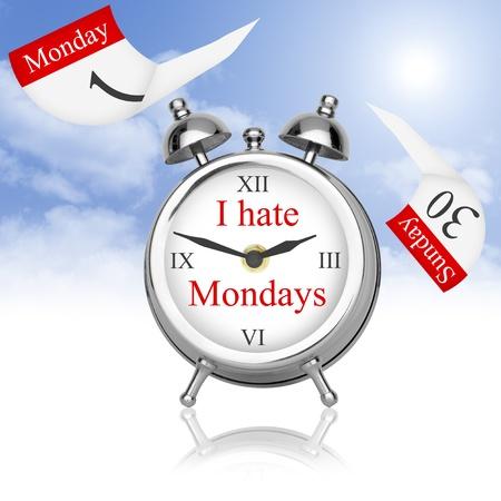 jornada de trabajo: No me gusta despertar el lunes. Foto de archivo
