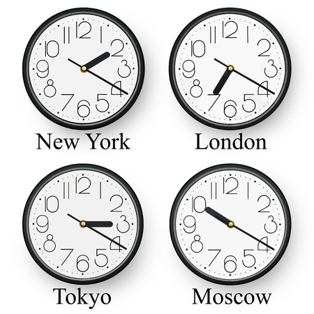 mondial: Watches in diferent cities of the world. Stock Photo