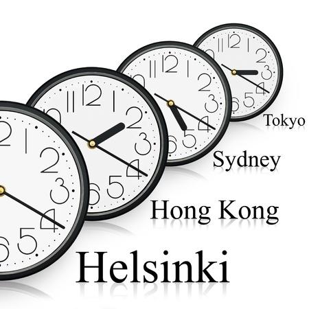 terrena: Orologi in citt� differenti di tutto il mondo. Archivio Fotografico