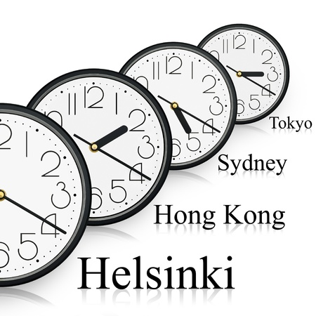 Watches in diferent cities of the world. Stock Photo
