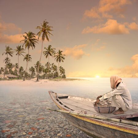 exotism: Fisherman in the paradise.