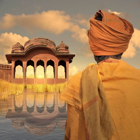 poor man: Poor man in the north of India during the sunset. Stock Photo