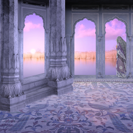 monument in india: Sunrise in a hindu palace in the north of India.