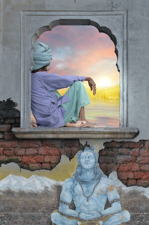 wall paintings: Holy man on a window during the sunrise.