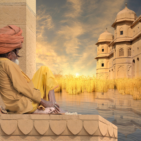 fortification: Fortification on the Ganges during the sunset. Stock Photo