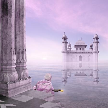 ritual: Woman doing a hindu ritual in the mist. Stock Photo