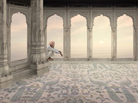 man meditating: Indian man meditating  in the sunrise.