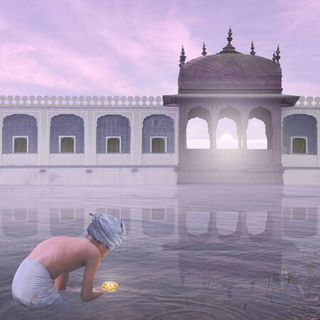 ritual: Young indian man doing a ritual in the mist. Stock Photo