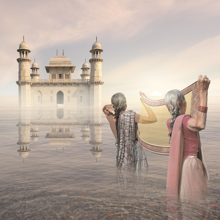 oasis at sunrise: Indian women cleaning on the Ganges river.