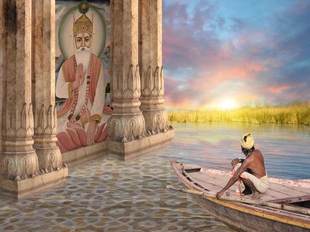 pecheur: P�cheur indien pr�s monument hindou dans le coucher de soleil. Banque d'images