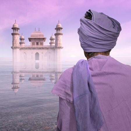 poor man: Pobre hombre cerca de un palacio indio en el agua.