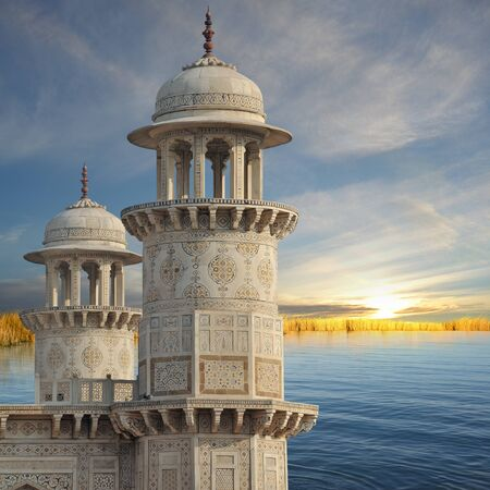 Traditional indian towers on the Ganges river.