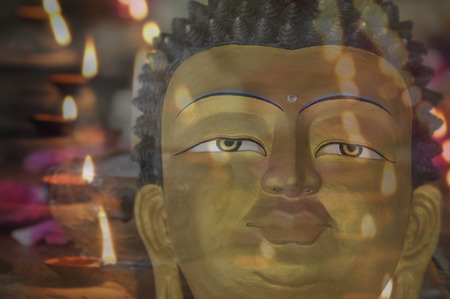 religious art: Religious art in a temple in the darkness.