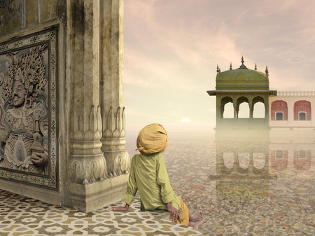 man meditating: Old man meditating on the Ganges river in the sunrise. Stock Photo