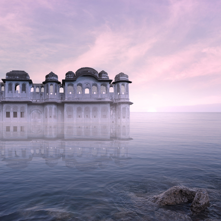 oasis at sunrise: Indian palace on the sea During the sunrise. Stock Photo